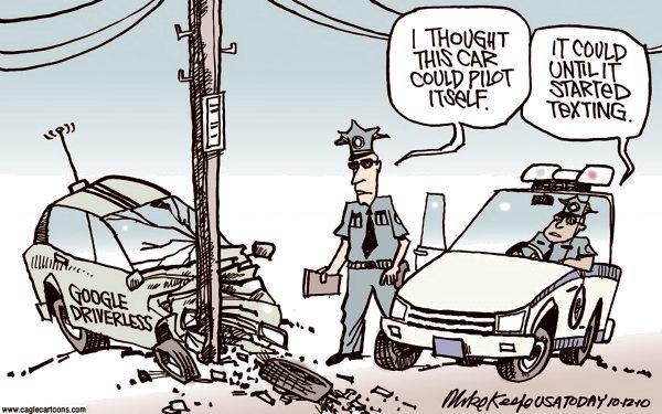 גם רכבים ללא-נהג יכולים לעשות תאונות דרכים. מקור - YouTwitFace.
